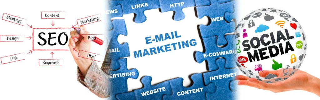 SEO, Email and Social Media marketing banner image
