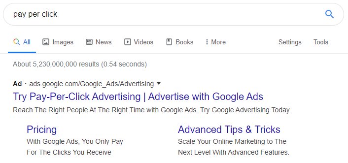 Google Ads / Pay per click screenshot