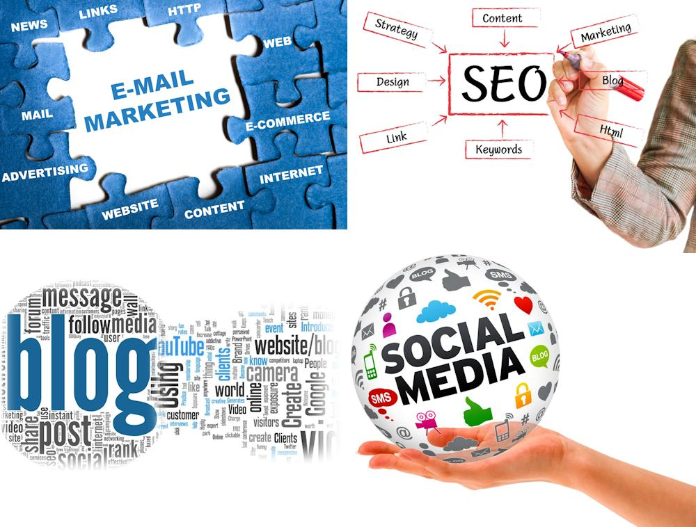 Email marketing, SEO, Blog and Social Media images