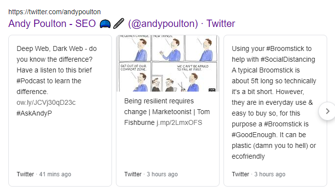 Andy Poulton, most recent Twitter posts
